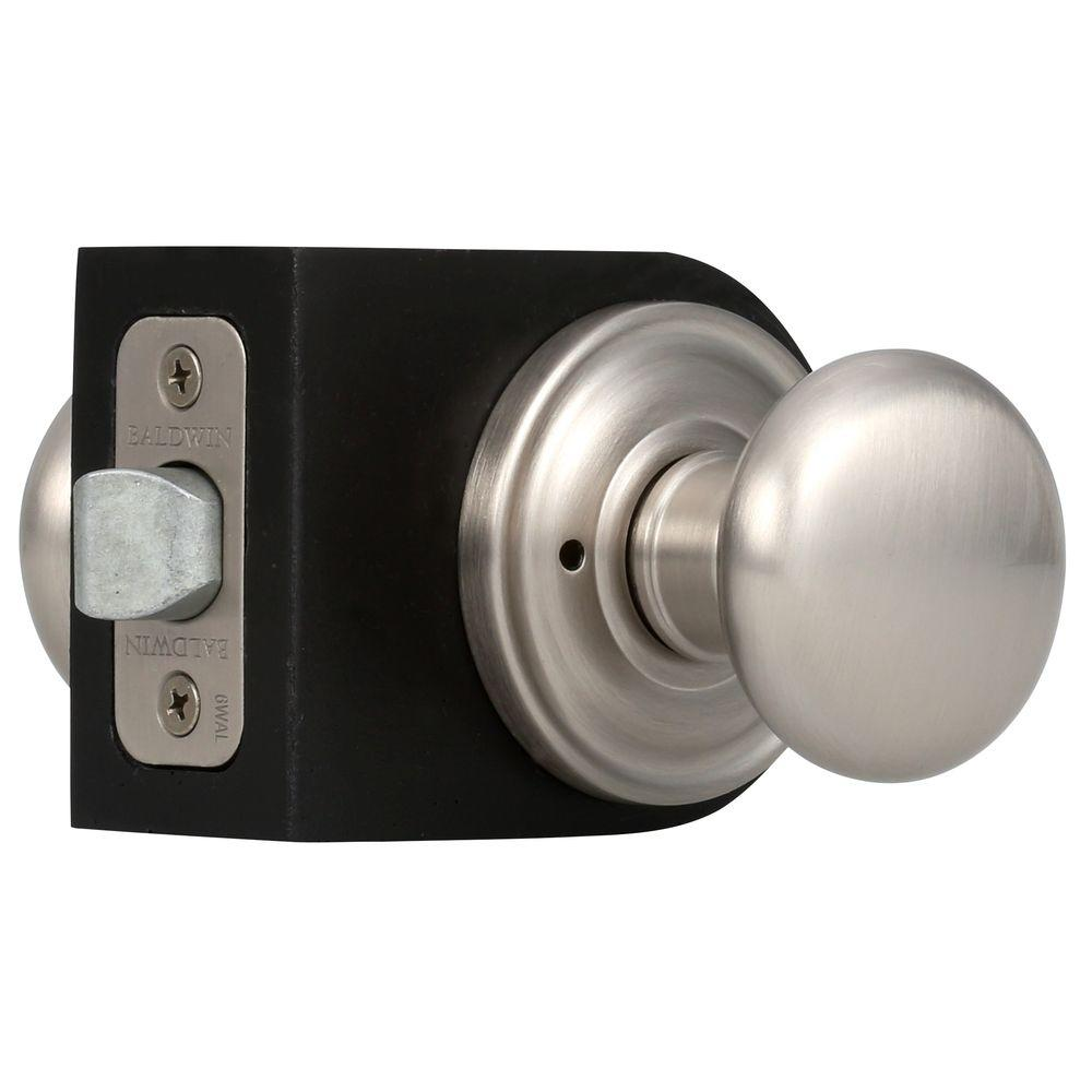Reserve Round Satin Nickel Bed/Bath Knob with Traditional Round Rose