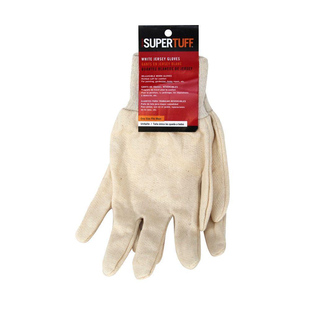 SuperTuff White Jersey Knit Gloves