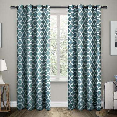 Neptune 54 in. W x 96 in. L Cotton Grommet Top Curtain Panel in Teal (2 Panels)