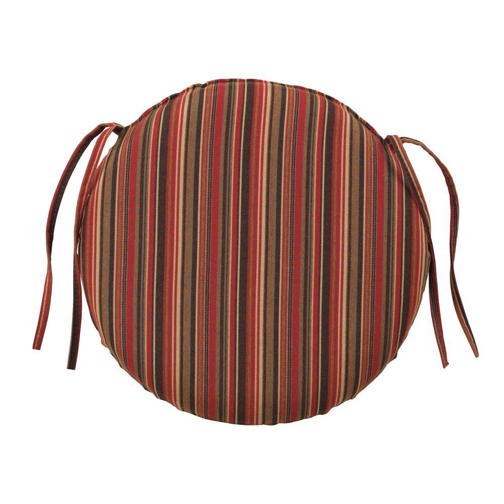 Home Decorators Collection Sunbrella Dorsett Cherry Round Outdoor Seat Cushion