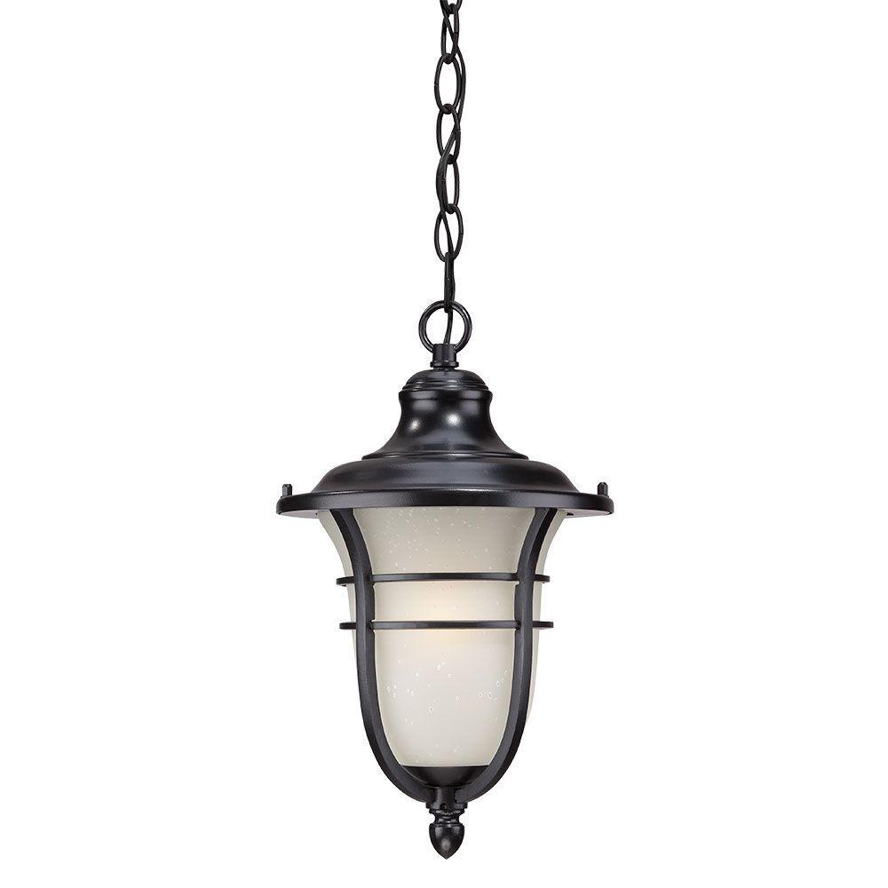 Montclair Collection 1-Light Matte Black Outdoor Hanging Lantern
