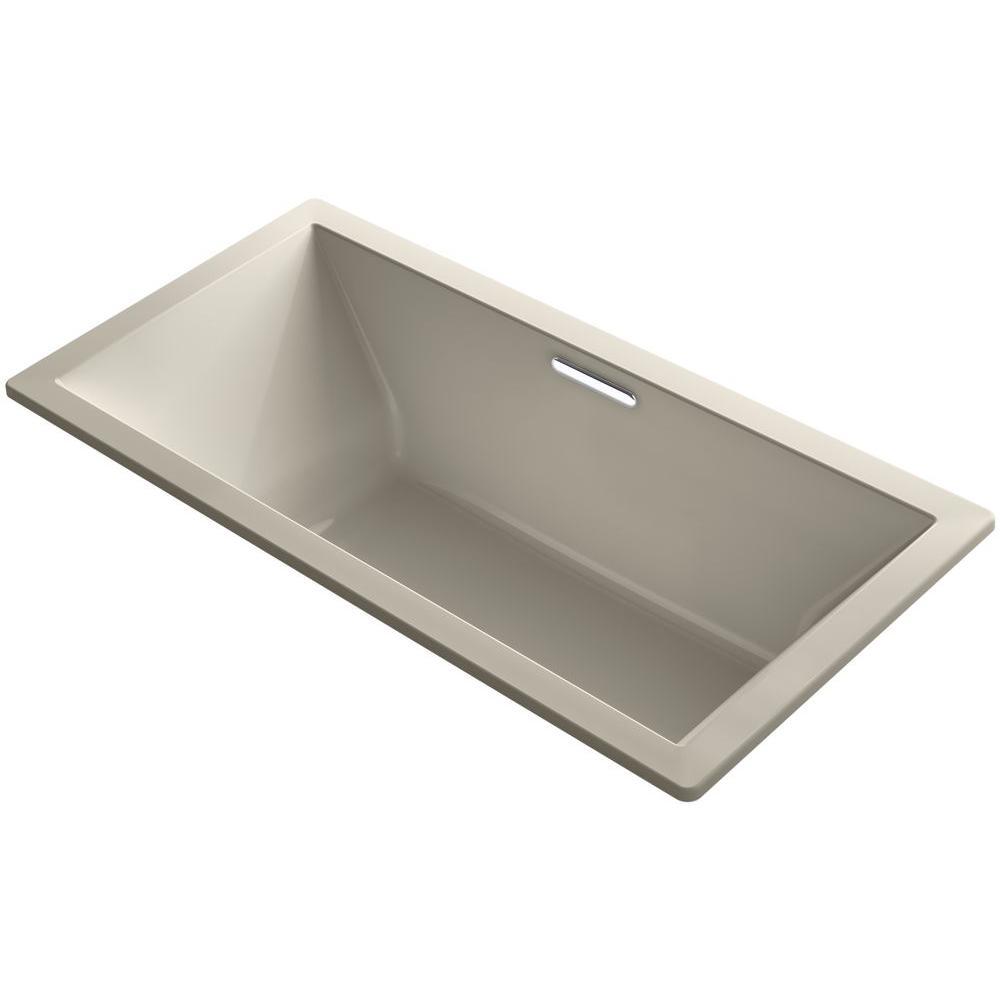 Underscore 6 ft. Acrylic Rectangular Drop-in or Undermount Non-Whirlpool Bathtub in Sandbar