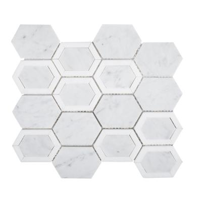 Arbor Hills White 11.625 in. x 9.625 in. Hexagon Marble Wall and Floor Mosaic Tile (0.777 sq. ft./Each)