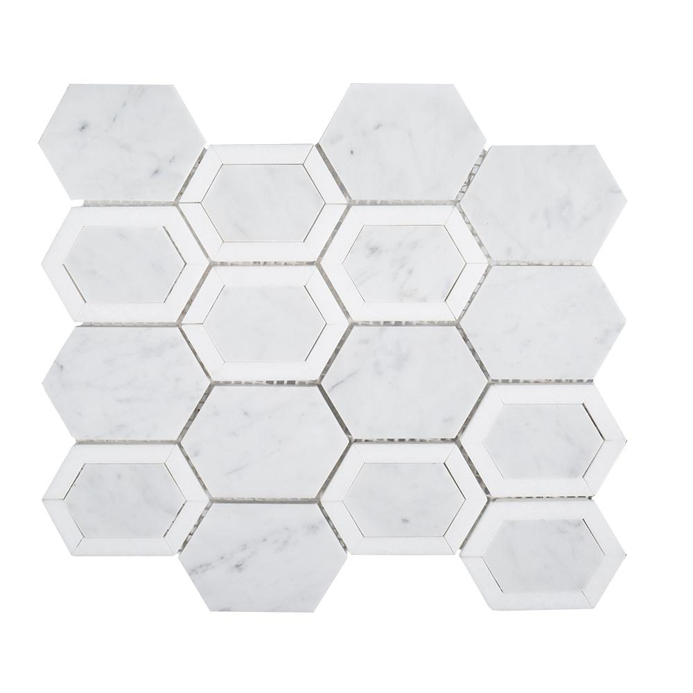 Jeffrey Court Arbor Hills White 9-7/8 in. x 11-5/8 in. x 10 mm Marble Mosaic Floor and Wall Tile