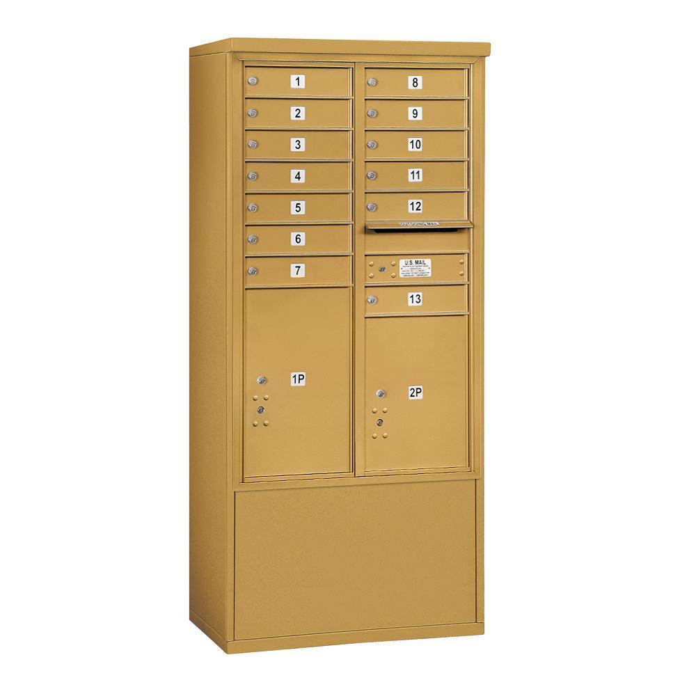 3900 Horizontal Series 13-Compartment 2-Parcel Locker Free Standing Mailbox