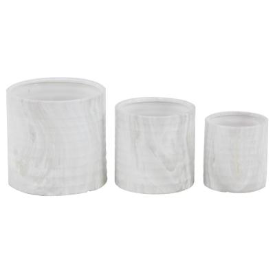 9 in., 7 in. and 6 in. Country Cottage Round Cylinder Ceramic Planters (Set of 3)