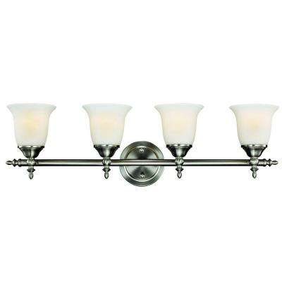 Traditional 4-Light Brushed Nickel Vanity Light with Bell Shaped Frosted Glass Shades