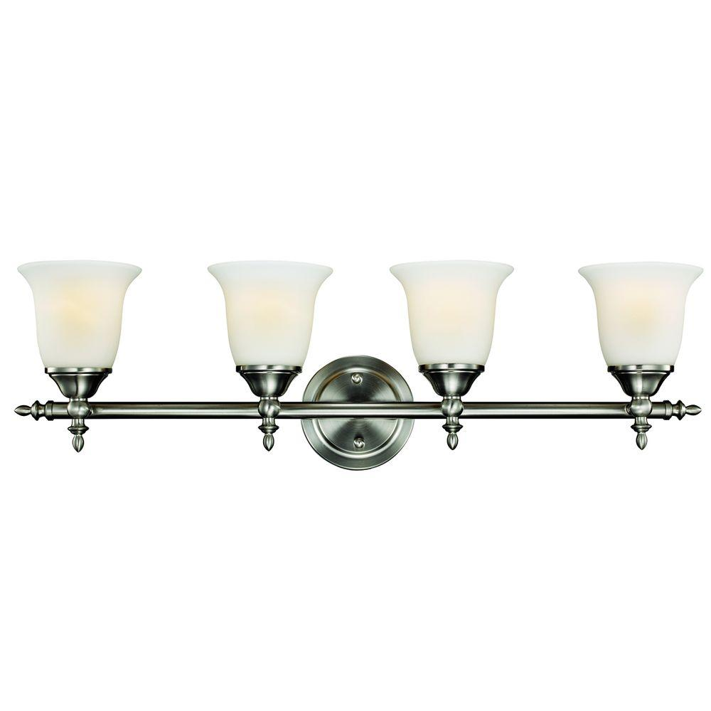 Hampton bay traditional 4 light brushed nickel vanity light with hampton bay traditional 4 light brushed nickel vanity light with bell shaped frosted glass shades nb49302 the home depot mozeypictures Images