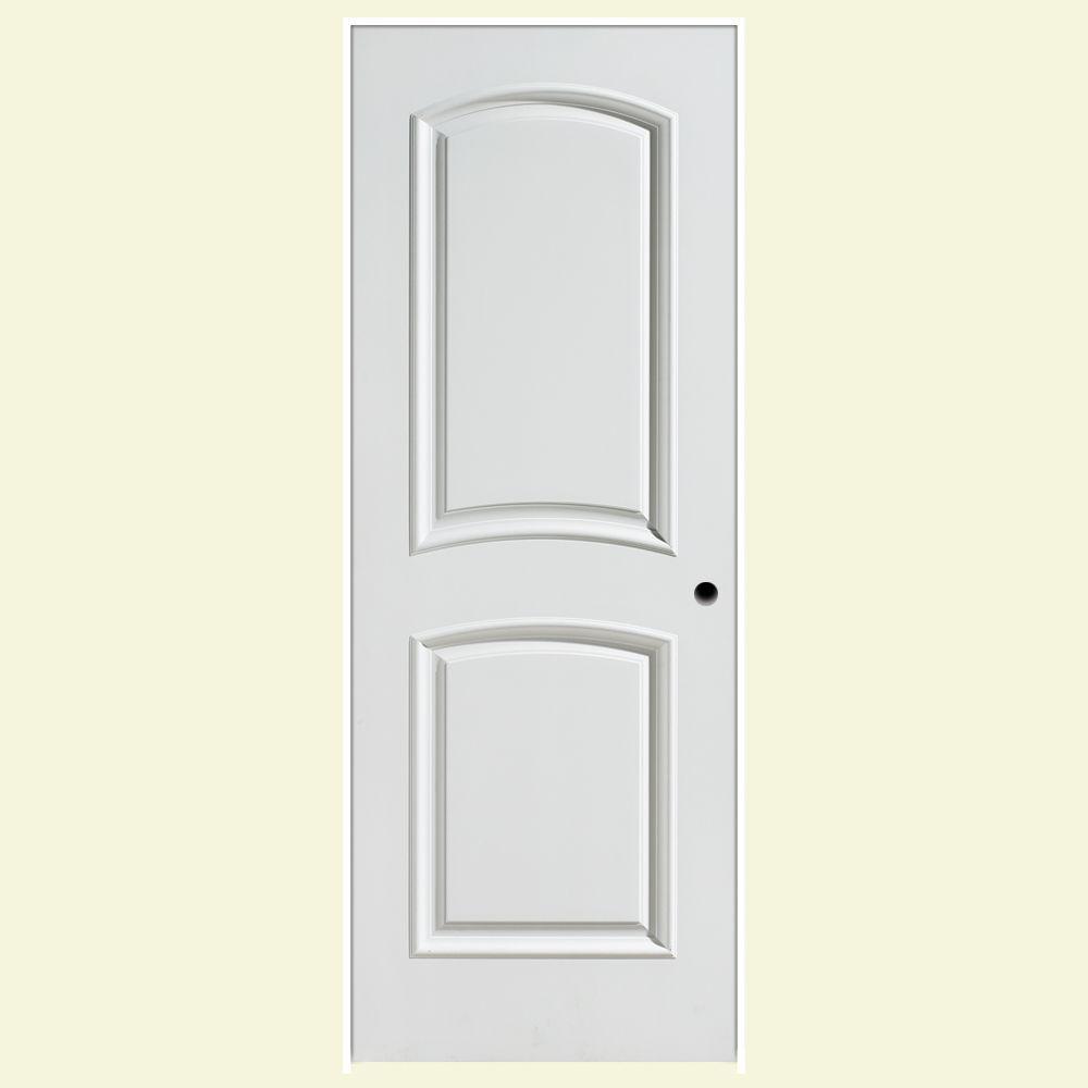 Palazzo Bellagio Smooth 2-Panel Arch Top Solid Core Primed Composite Single Prehung Interior Door