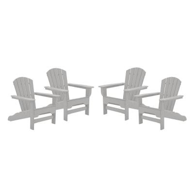 Boca Raton Light Gray Recycled Plastic Curveback Adirondack Chair (4-Pack)