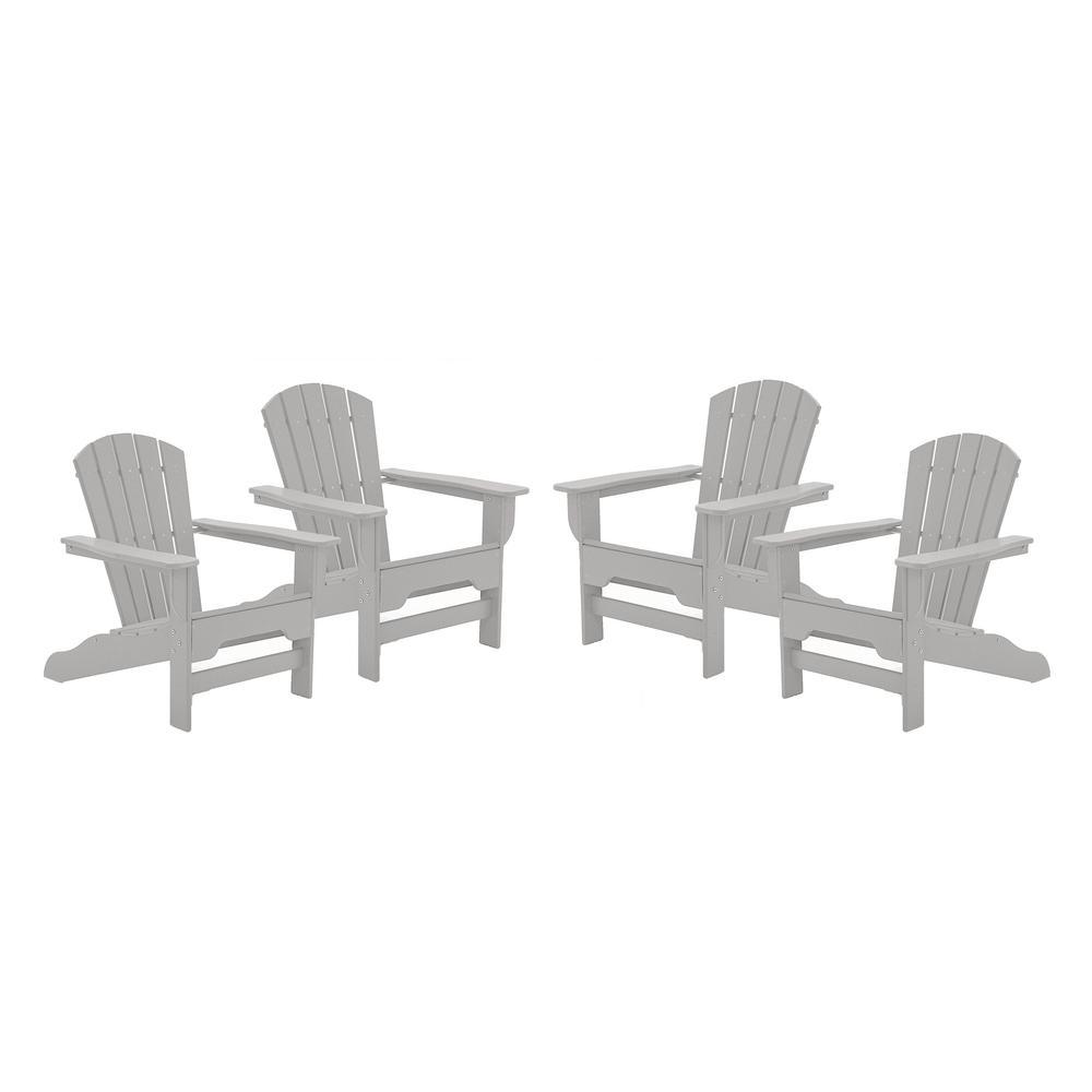 Boca Raton Light Gray Recycled Plastic Curveback Adirondack Chair (4-Pack)