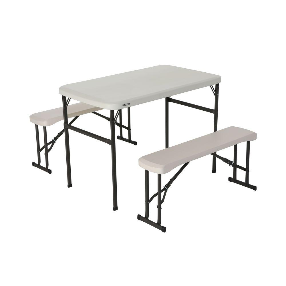 Lifetime 3 Piece Almond Fold In Half Folding Picnic Table Bench Set