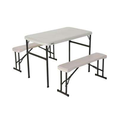 3-Piece Almond Fold-in-Half- Picnic Table with Benches