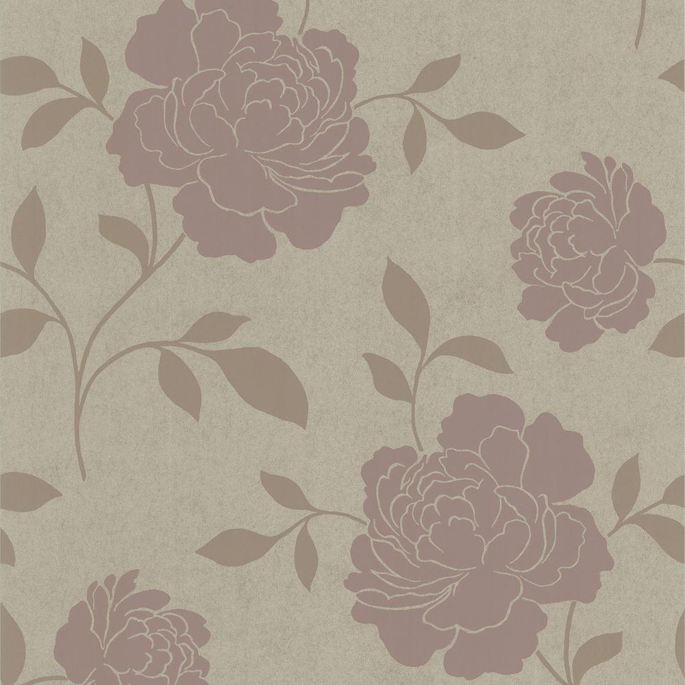 Clara Brass Floral Silhouette Wallpaper
