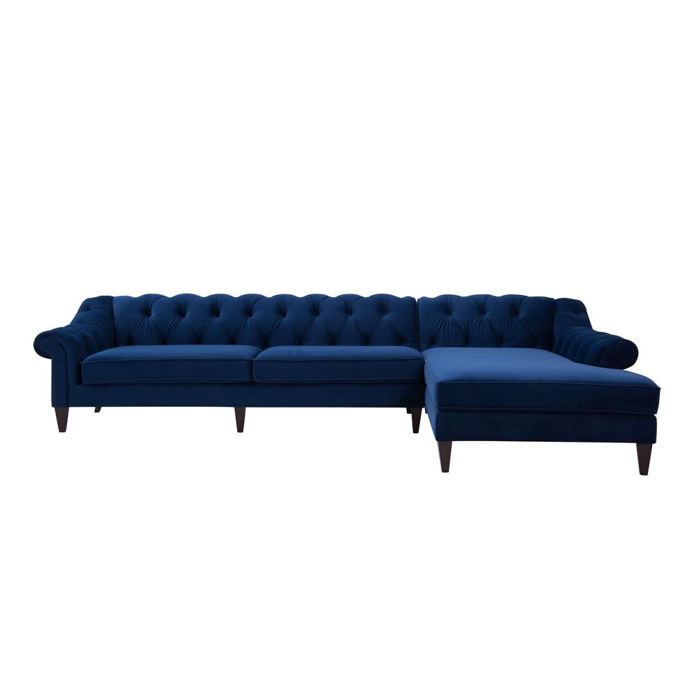 Jennifer Taylor Navy Blue Tufted Right Sectional Sofa