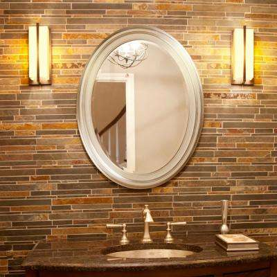 33 in. x 25 in. Brushed Nickel Round Framed Mirror