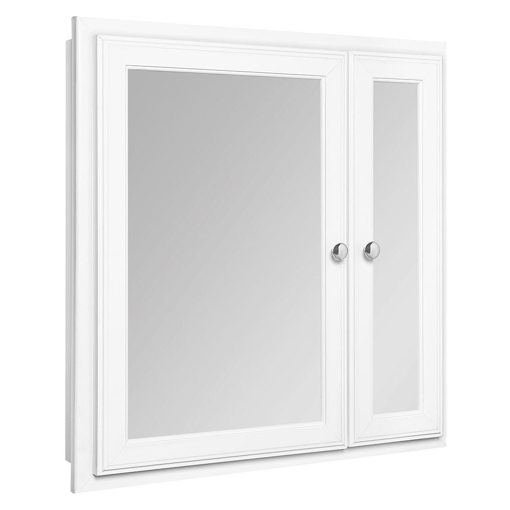Bathroom Medicine Cabinets Recessed glacier bay 24-1/2 in. w x 25-3/4 in. h framed recessed bi-view