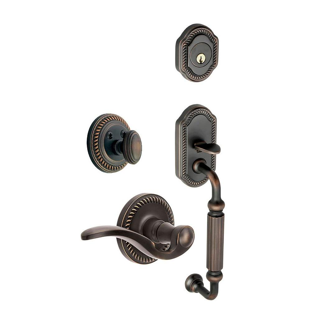 Grandeur Newport Single Cylinder Timeless Bronze F-Grip Handleset with Right Handed Bellagio Lever
