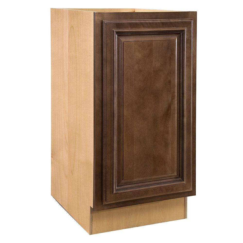 Home Decorators Collection Assembled 15x34.5x24 in. Base Cabinet with Single Pullout Wastebasket in Huntington Chocolate Glaze