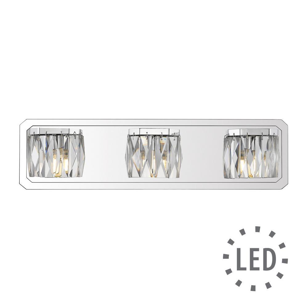 Krysta 3-Light Chrome Bath Light