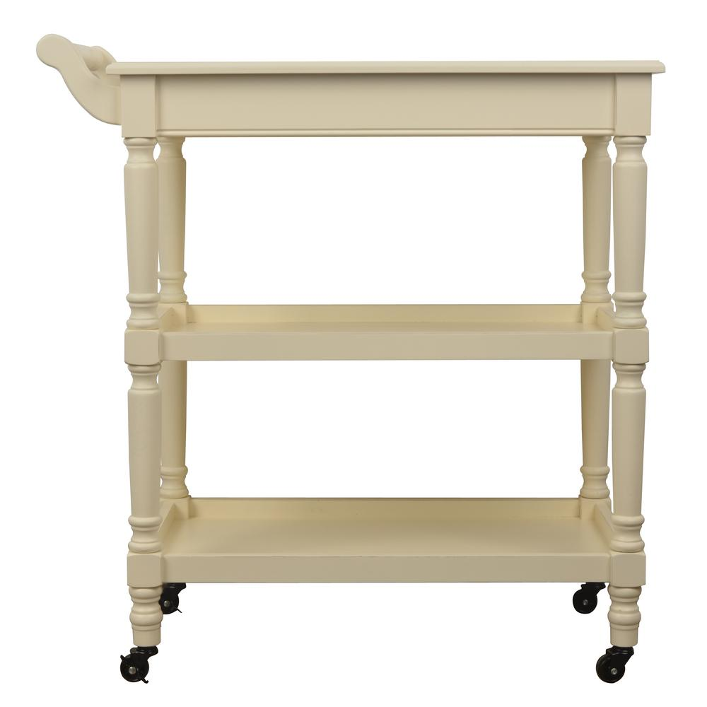 Rolling White Storage Bar Cart