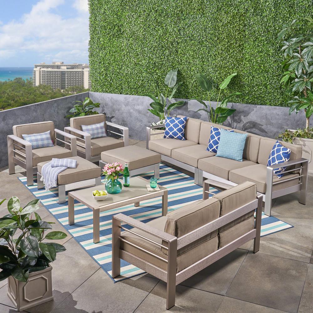 Cape Coral Silver 8-Piece Aluminum Patio Conversation Set with Khaki Cushions