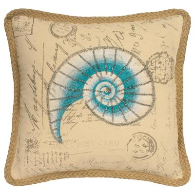 Mandalay Blue and Beige Geometric Down 20 in. x 20 in. Throw Pillow