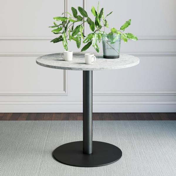Lucy White Carrara Faux Marble Table Top and Black Pedestal Base Modern Kitchen or Dining Table