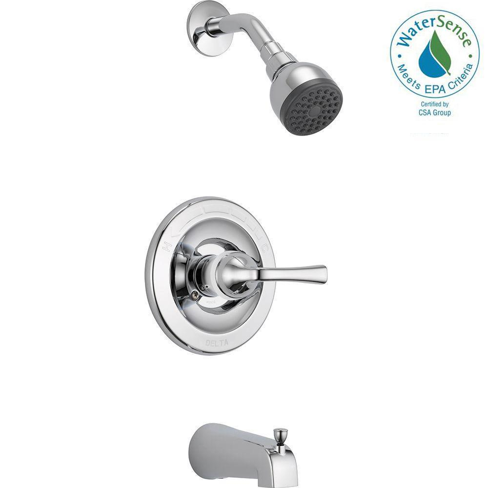 one piece shower faucet. Delta Foundations Single Handle 1 Spray Tub and Shower Faucet in Chrome  Valve