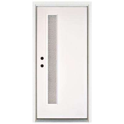 36 in. x 80 in. Water Wave Smooth White Right-Hand Inswing Narrow 1 Lite Rain Fiberglass Prehung Front Door