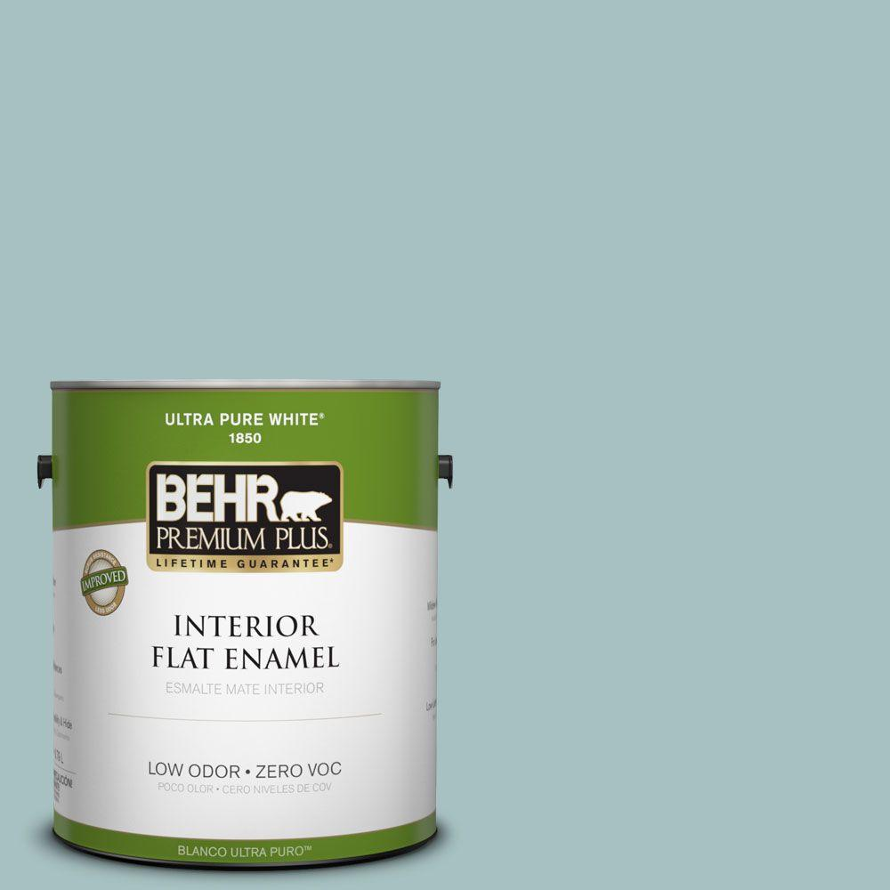 BEHR Premium Plus 1-gal. #500F-4 Swan Sea Zero VOC Flat Enamel Interior Paint-DISCONTINUED