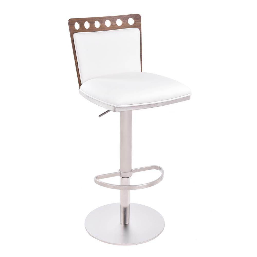 Armen Living Brooke 34 44 In. White Faux Leather And Brushed Stainless  Steel Finish