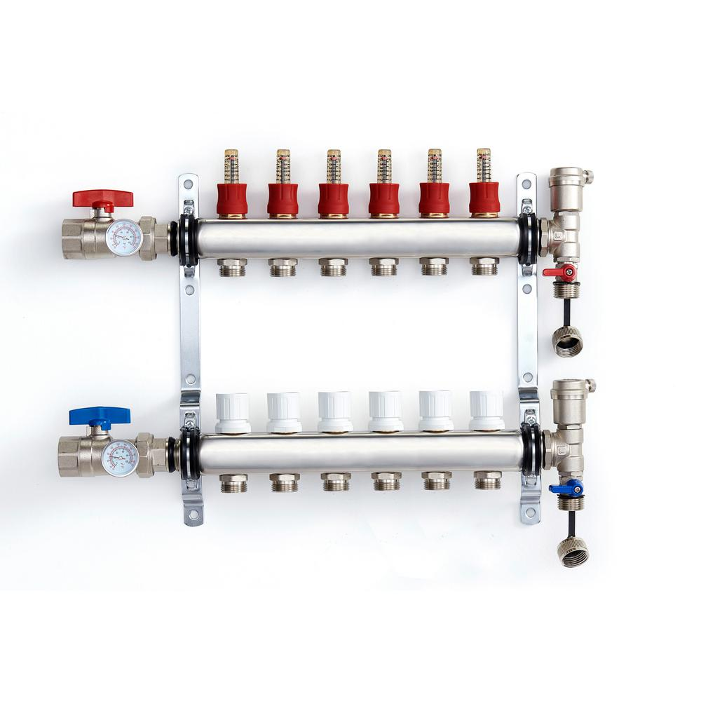 1 in. NPT Inlet x 1/2 in.  Stainless Steel Compression Connection 6-Outlet Radiant Heating Manifold