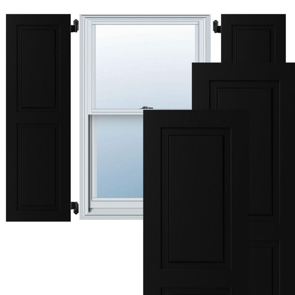18 in. x 72 in. Exterior Composite Raised Panel Shutters (Per Pair), Black