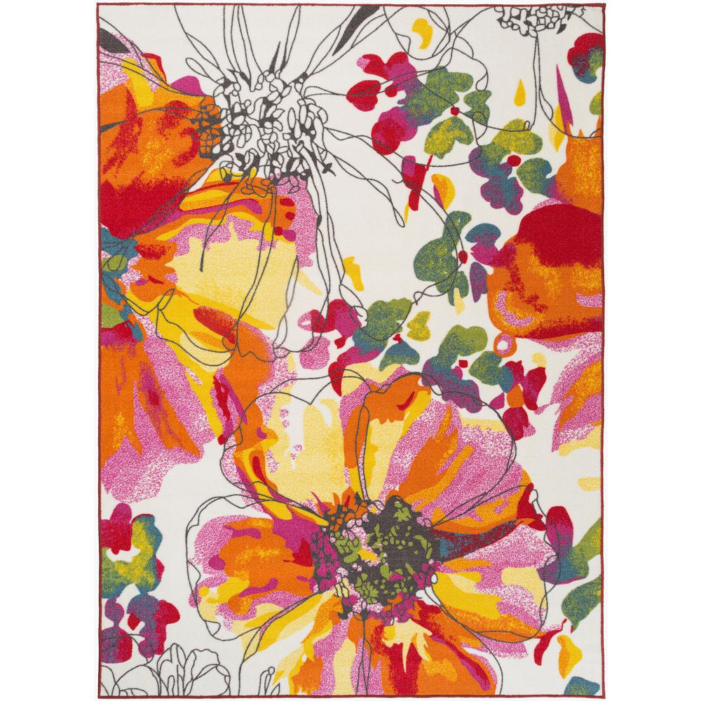 Modern Bright Flowers Multi 2 Ft X 3 Ft Area Rug 503 Multi 2x3