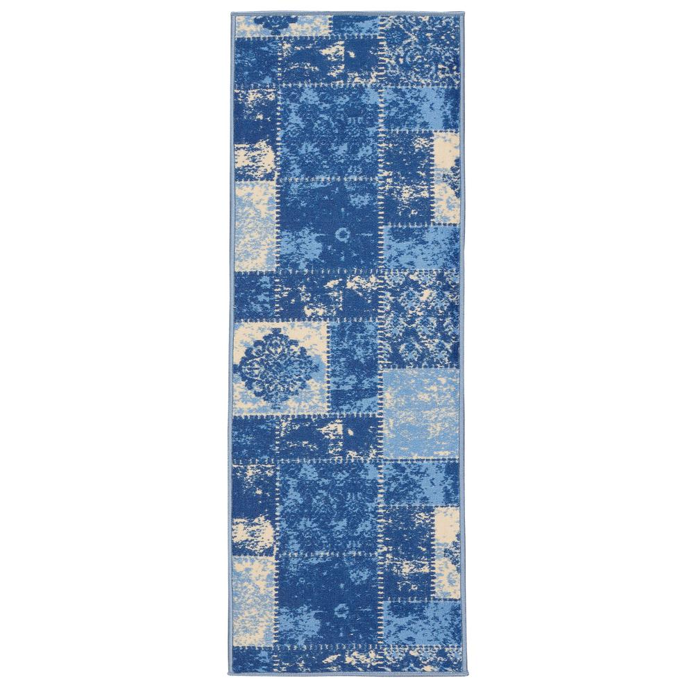 Anne Collection Patchwork Design Blue/Ivory 2 ft. x 5 ft. Non-Skid ...