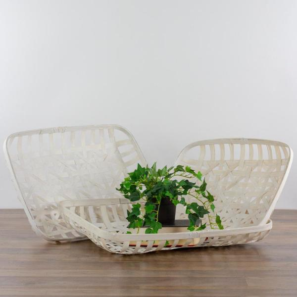 Set of 3 White Rectangular Lattice Tobacco Table Top Baskets