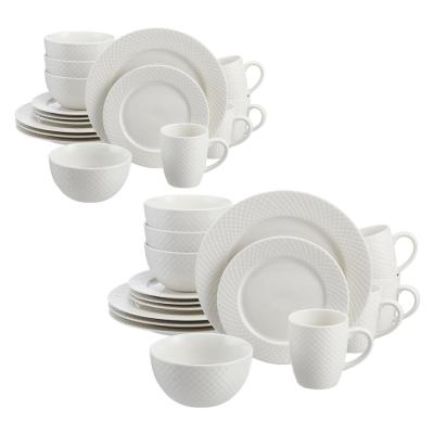 Leighton 32-Piece Textured White Stoneware Dinnerware Set (Service for 8)