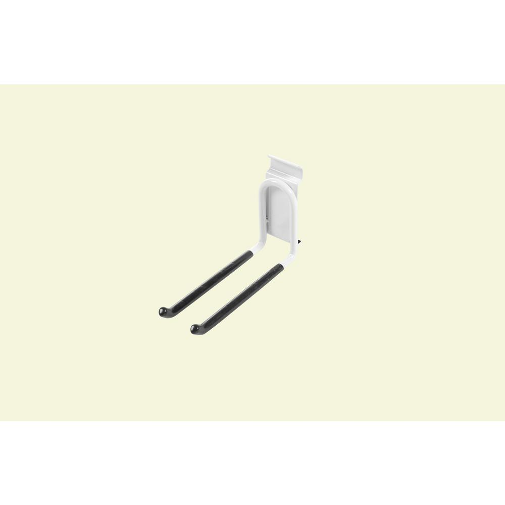 6.2 in. White Steel Long Double Hook for Wire Shelving