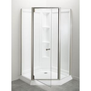Sterling Solitaire Economy 42 inch x 29-7/16 inch x 78-1/4 inch Corner Shower Kit with Shower Door in White/Nickel by STERLING