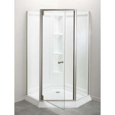 Solitaire Economy 42 in. x 29-7/16 in. x 78-1/4 in. Corner Shower Kit with Shower Door in White/Nickel