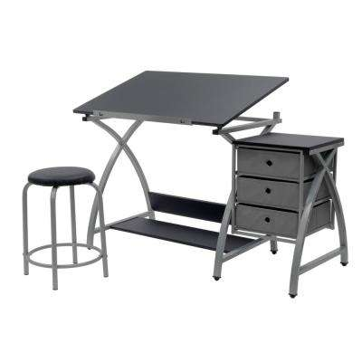 Comet 50 in. W x 23.75 in. D x 29.5 in. H Craft Table with Adjustable Top, 3 Pull-Out Drawers and Stool, Silver/Black