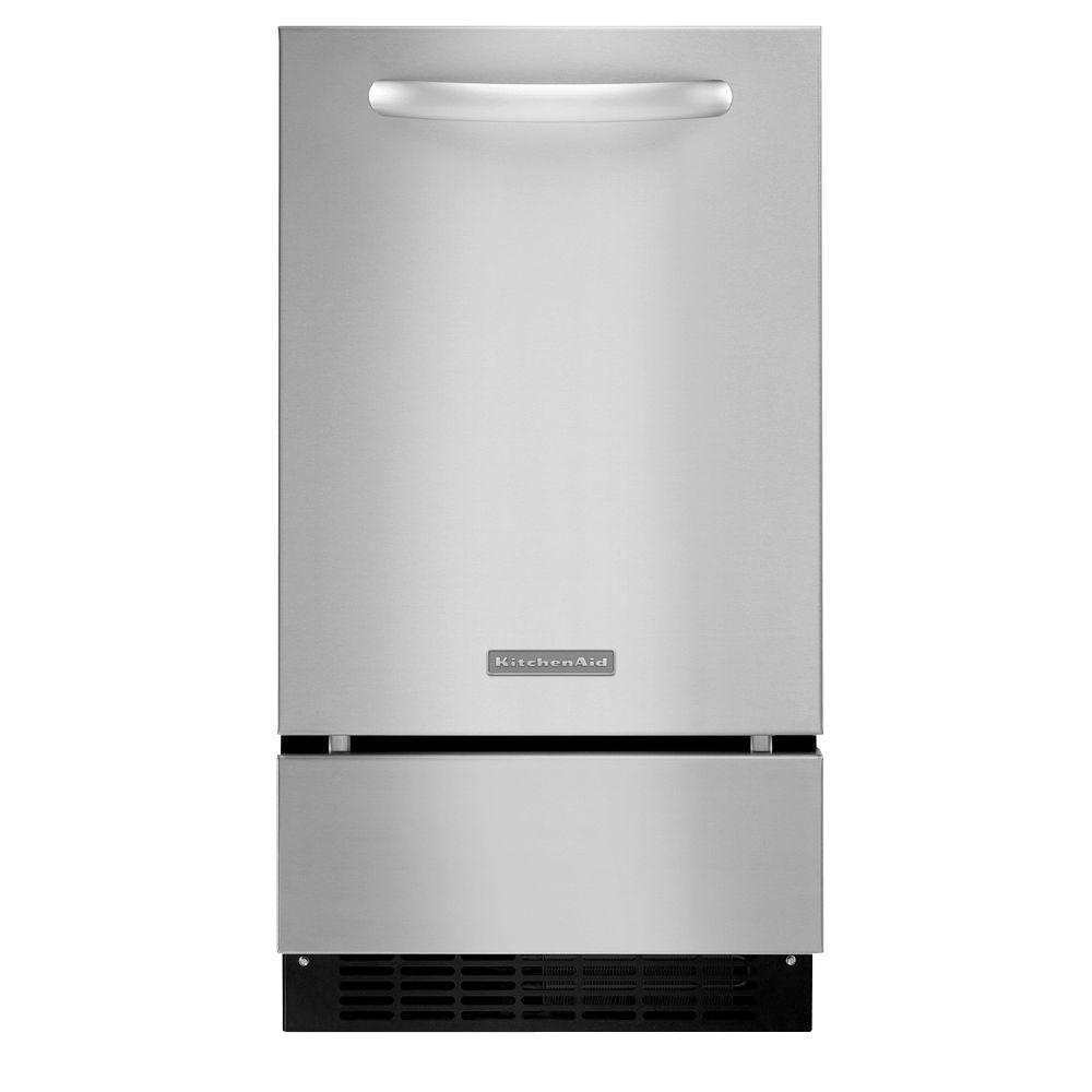 KitchenAid Architect Series II 18 in. 50 lb. Freestanding or Built-In Icemaker with Drain Pump in Stainless Steel