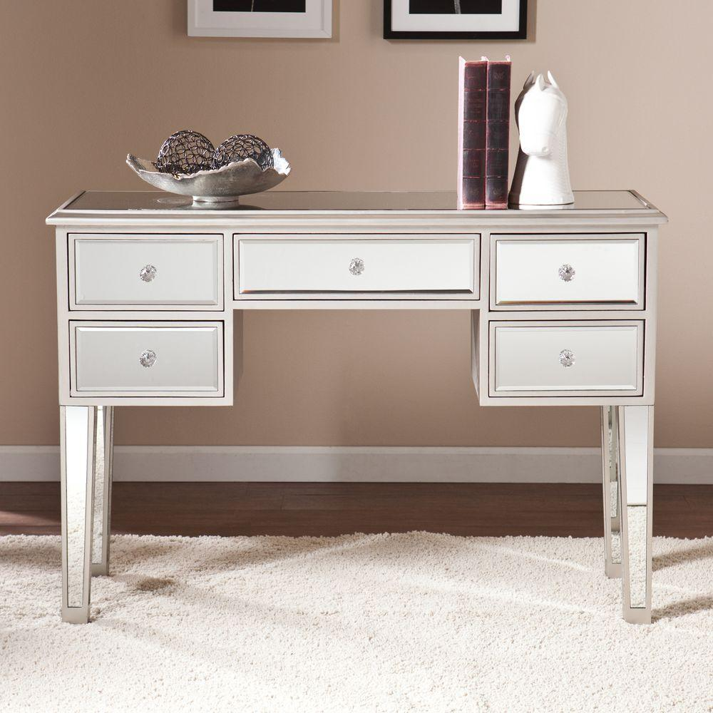 Southern Enterprises Elberta Silver Mirrored Console Table
