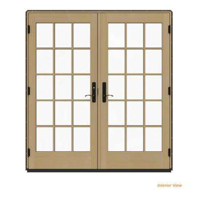 72 in. x 80 in. W-4500 Contemporary Brown Clad Wood Right-Hand 15 Lite French Patio Door w/Unfinished Interior