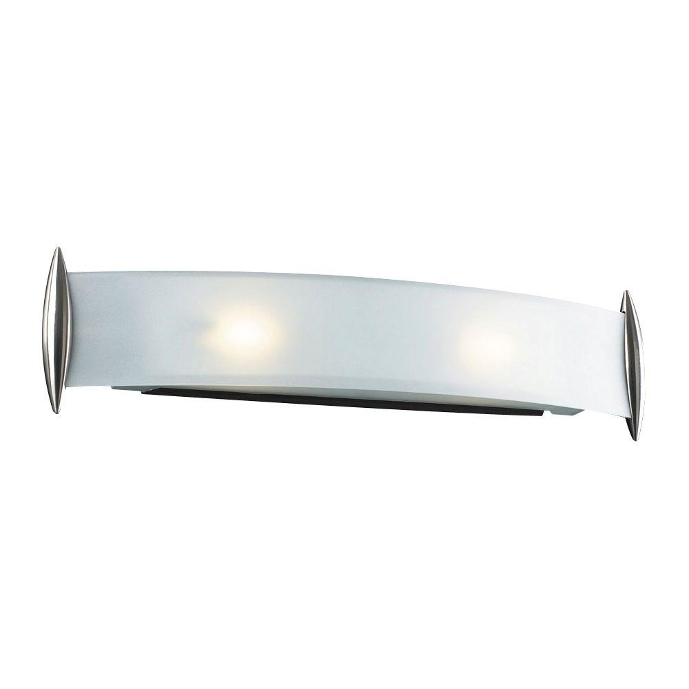 PLC Lighting 2-Light Satin Nickel Bath Vanity Light with Acid Frost Glass