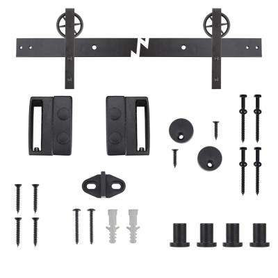 72 in. Dark Oil-Rubbed Bronze Wagon Wheel Decorative Barn Door Track and Hardware Kit