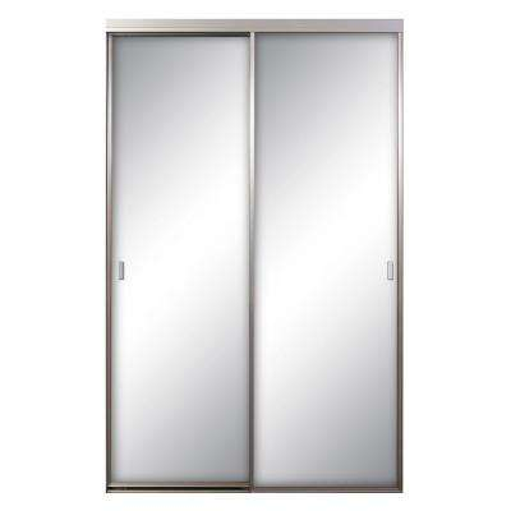 Asprey Mirrored Satin Clear Aluminum Interior Sliding Door
