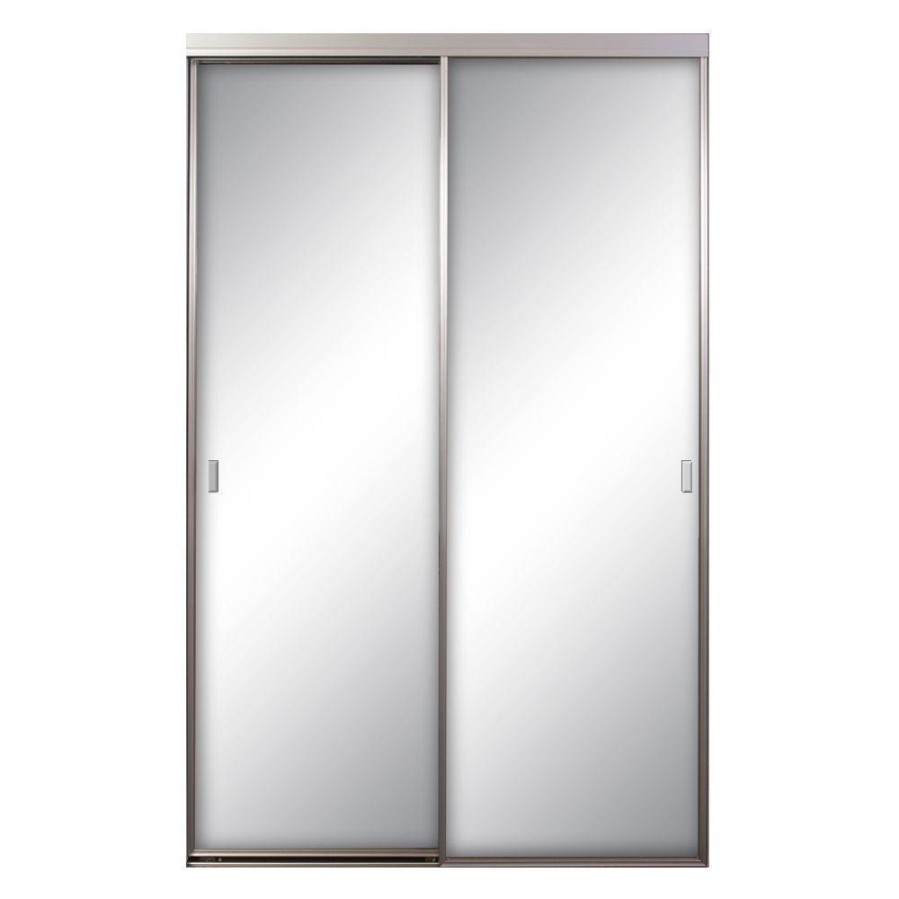 60 in. x 81 in. Asprey Satin Clear Mirrored Aluminum Interior Sliding Door
