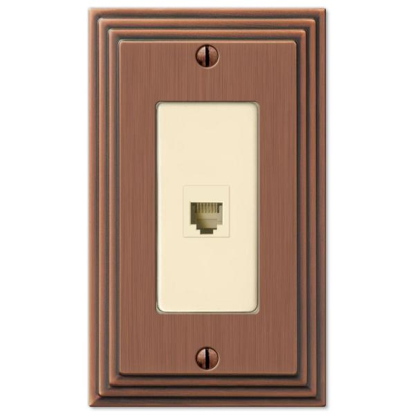 Tiered 1 Gang Phone Metal Wall Plate - Antique Copper